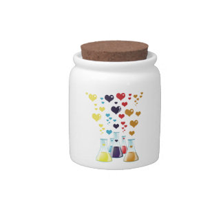 Chemistry Flask, Hearts - Red Blue Yellow Purple Candy Jar