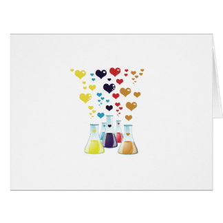 Chemistry Flask, Hearts - Red Blue Yellow Purple Card