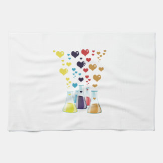Chemistry Flask, Hearts - Red Blue Yellow Purple Hand Towel