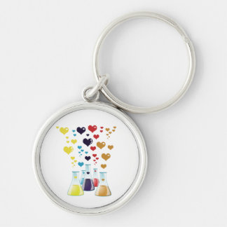 Chemistry Flask, Hearts - Red Blue Yellow Purple Keychain