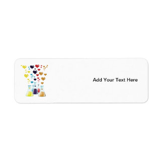 Chemistry Flask, Hearts - Red Blue Yellow Purple Label