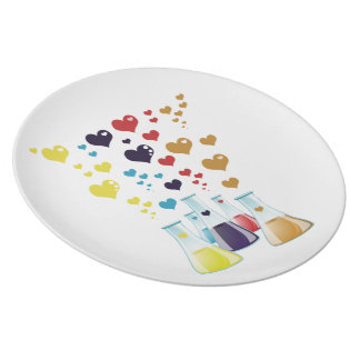 Chemistry Flask, Hearts - Red Blue Yellow Purple Plate