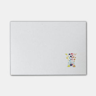 Chemistry Flask, Hearts - Red Blue Yellow Purple Post-it Notes