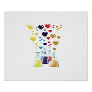 Chemistry Flask, Hearts - Red Blue Yellow Purple Poster