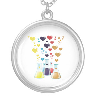 Chemistry Flask, Hearts - Red Blue Yellow Purple Silver Plated Necklace