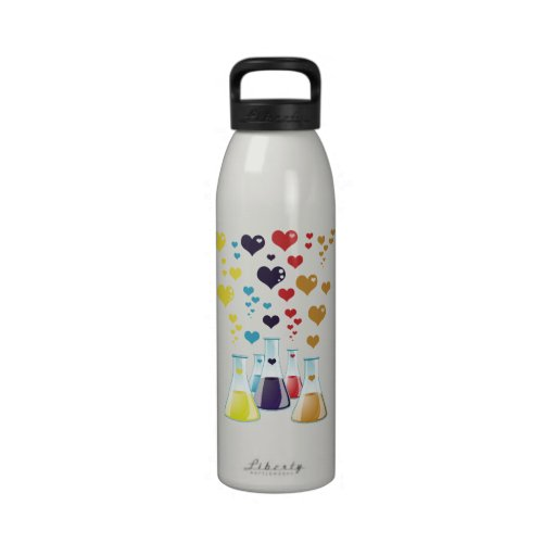 Chemistry Flask, Hearts - Red Blue Yellow Purple Drinking Bottle
