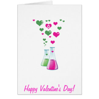 Chemistry Flask, Lab Glassware, Heart - Pink Green Card