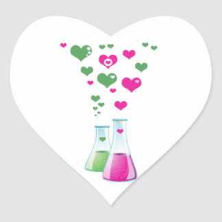 Chemistry Flask, Lab Glassware, Heart - Pink Green Heart Sticker