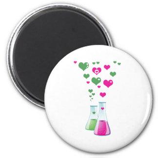 Chemistry Flask, Lab Glassware, Heart - Pink Green Magnet