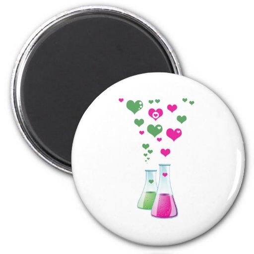Chemistry Flask, Lab Glassware, Heart - Pink Green Refrigerator Magnet