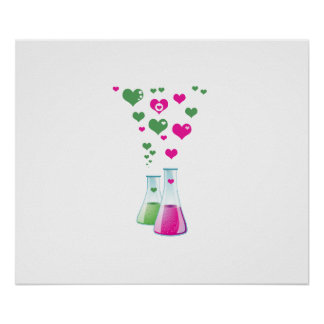 Chemistry Flask, Lab Glassware, Heart - Pink Green Poster