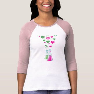 Chemistry Flask, Lab Glassware, Heart - Pink Green T-Shirt