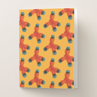 Chemistry Geek Orange Methane Molecule Pattern Pocket Folder