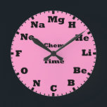"""chemistry is pink round clock<br><div class=""""desc"""">chemistry is pink wall clock.</div>"""