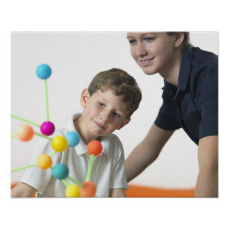 Chemistry lesson. 6 year old boy and his teacher poster