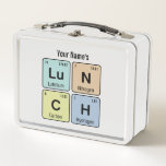 """Chemistry Lu N C H Metal Lunch Box<br><div class=""""desc"""">Chemists and scientists - it&#39;s time for lunch. This chemistry bag spells out Lu N C H using the periodic table of the elements symbols for Lutetium,  Nitrogen,  Carbon and Hydrogen. Great gift idea. Easily customize with your name.</div>"""