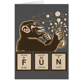 Chemistry monkey discovered fun card