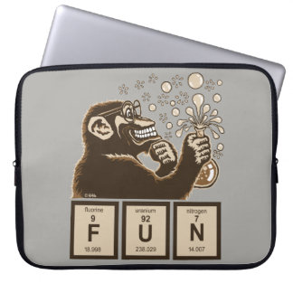 Chemistry monkey discovered fun laptop sleeve