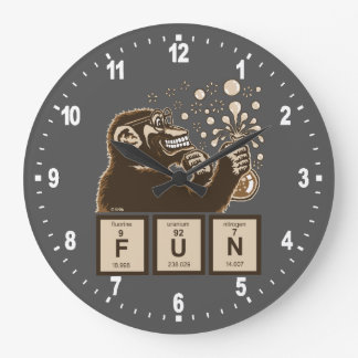 Chemistry monkey discovered fun large clock