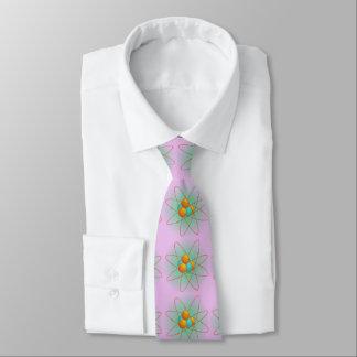 chemistry, nucleus. big-bang. light purple backgr. neck tie