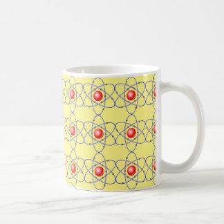 chemistry, nucleus. big-bang. yellow background coffee mug