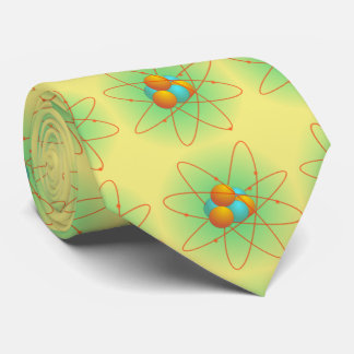 chemistry, nucleus. big-bang. yellow background tie