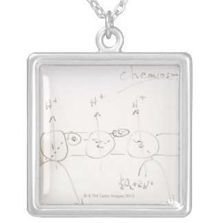 Chemistry on dry-erase board silver plated necklace