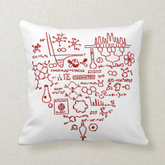 Chemistry Red Love Heart on Any Custom Color Throw Pillow