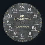 """Chemistry Science Chalkboard Personalizable Clock<br><div class=""""desc"""">A unique periodic table of chemical elements personalized decorative wall clock. A great addition to any home,  school or office. Also makes a great gift idea for any teacher or professor.</div>"""