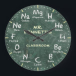 """Chemistry Science Chalkboard Personalizable Clock<br><div class=""""desc"""">A unique periodic table of chemical elements personalizable decorative wall clock. A great addition to any home,  school or office. Also makes a great gift idea for any teacher or professor.</div>"""