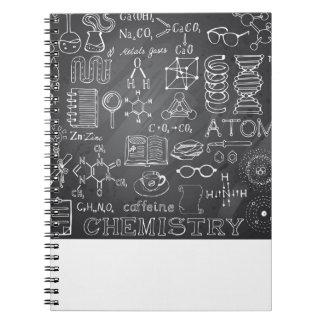 Chemistry Science Doodle in Gray Chalkboard Notebook
