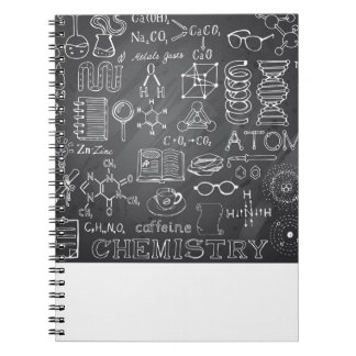 Chemistry Science Doodle in Gray Chalkboard Spiral Notebook