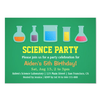 Chemistry Science Kids Birthday Party Invitations