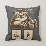 "Chemistry sloth discovered nap throw pillow<br><div class=""desc"">Funny chemistry sloth discovered nap</div>"