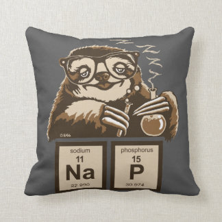 Chemistry sloth discovered nap throw pillow