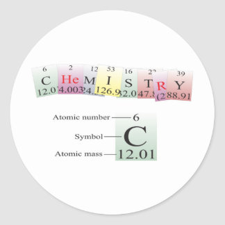 Chemistry Spelled with elements Classic Round Sticker