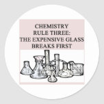 chemistry: the epensive glass breaks first classic round sticker