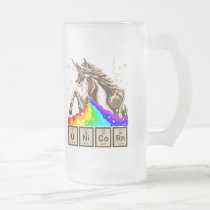 Chemistry unicorn pukes rainbow frosted glass beer mug