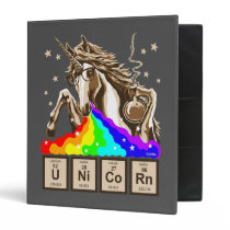 Chemistry unicorn vomits rainbow binder