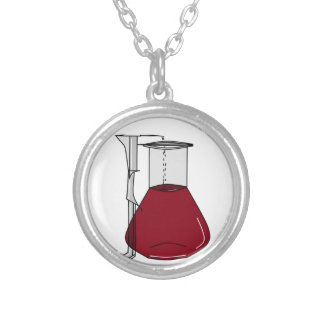 Chemists Chemistry Beakers Test Tubes Solutions Silver Plated Necklace