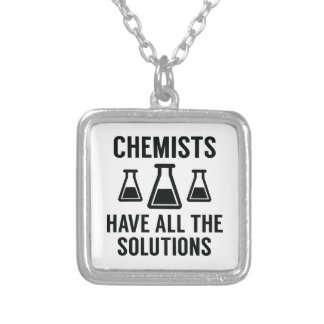 Chemists Have All The Solutions Silver Plated Necklace