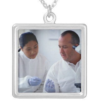Chemists Looking at a Glass Slide Together Silver Plated Necklace