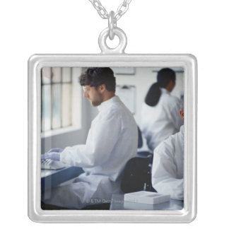Chemists Working in a Laboratory Silver Plated Necklace
