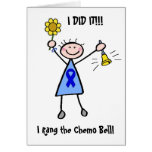 Chemo Bell - Blue Ribbon Woman Card