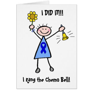 Chemo Bell - Blue Ribbon Woman Greeting Card