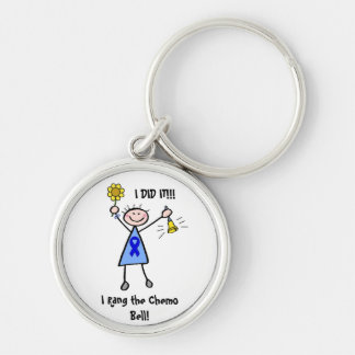 Chemo Bell - Blue Ribbon Woman Keychains