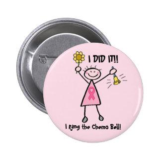 Chemo Bell - cáncer de pecho rosado de la cinta Pin Redondo De 2 Pulgadas