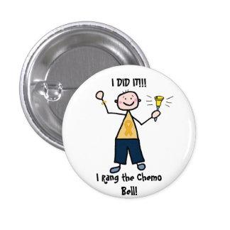 Chemo Bell - cinta del oro del cáncer de la niñez Pin Redondo De 1 Pulgada