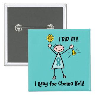 Chemo Bell - cinta del trullo del cáncer ovárico Pin Cuadrado