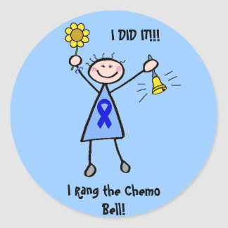 Chemo Bell - Colon Cancer Woman Classic Round Sticker